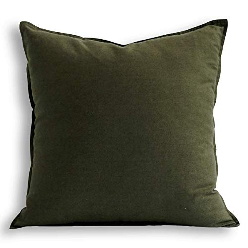 Jeanerlor 24 x 24 Inch Natural Cotton Linen Soft Soild Decorative Square Throw Pillow Covers Green Set Cushion Case for Sofa Bedroom Car 60 x 60 cm,Olive Green