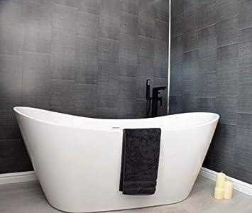 Bathroom Decor Brushed Carbon Grey Large Tile Effect Bathroom Cladding Shower Wall Panels Pack Of 6 Amazon Co Uk Diy Tools