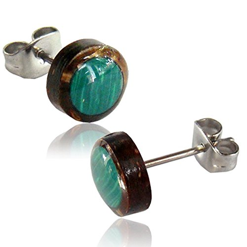 Earth Accessories Organic Shell Stud Earrings surrounded by Coconut Shell - Abalone, Mother of Pearl, and More