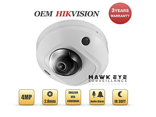 4MP PoE Security IP Camera - Built in Microphone Mini Dome Indoor and Outdoor 2.8mm Lens SD Card Slot Audio Alarm in and Out Compatible with Hikvision Performance Series DS-2CD2545FWD-I 3 Yr Warranty