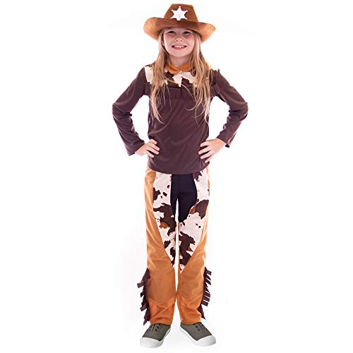 Ride 'em Cowgirl Halloween Costume | Western Outlaw Sheriff Girls Dress Up, M -
