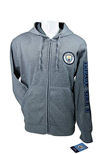 Soccer Ball Fleece Beanie - Manchester City F.C. Zipper Front Fleece Jacket Sweatshirt Official License Soccer Hoodie Small 004
