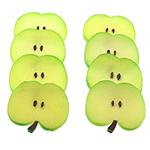 Gresorth 8 PCS Artificial Green Apple Slice Fake Fruit Slices Decoration Photography Props 39