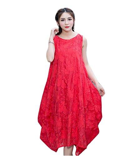 HGDRSpring Und Sommer Frauen Große Größe Lose Art Und Weise Kleid,Red-M