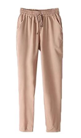 2bdd5dce9e7e1 YiyiLai Pantalon Mousseline de Soie Femme Legging Fluide Automne Hiver  Soirée Casual Elégant Beige Tour Taille