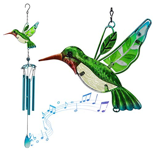Hummingbird Wind Chimes for Garden,Small Windchimes Unique Outdoor Suncatcher with Stained Glass Hummingbird for Home Décor,Amazing Grace Wind Chime for Christmas Housewarming,Bird Collection