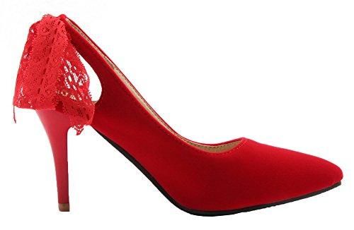 Huomautti Toe vankkaan Korkokenkiä Himmeä kengät Pumput Pull Suljetun Weipoot 40 Naisten Punainen qCEwwZ1