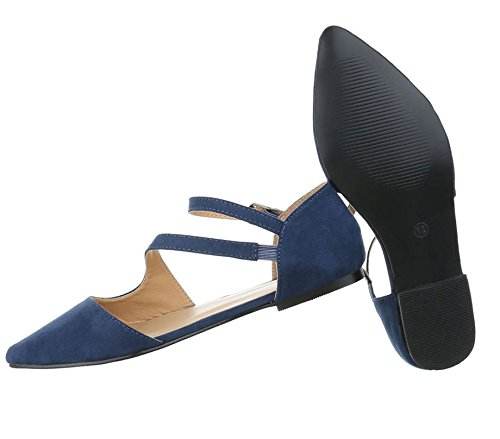 Damen Pumps Schuhe Elegant High Heels Komfort Blau