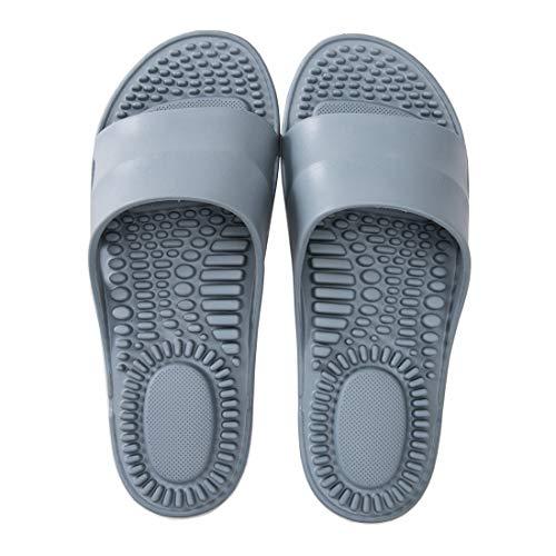 Deerway Acupressure Massage Slippers Therapeutic Reflexology Sandals for Foot Acupoint Massage Shiatsu Arch Pain Relief Non-Slip Shoes Bath Shower (5-5.5 M US Women/4-4.5 M US Men, Gray Blue)