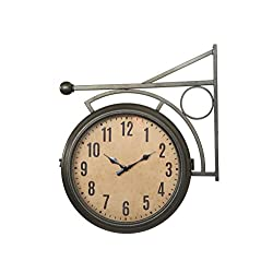 Creative Co-Op DA5800 Metal Two-Sided Station Clock