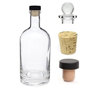 Nakpunar 12 oz Heavy Base vidrio de licor botella de cristal botella con corcho sintético T