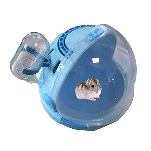 Hamster Carrier Cage Portable Transport Unit for Syrian Hamster, Small Animal Habitat, Hamster Accessories with 60ML Water Bottle