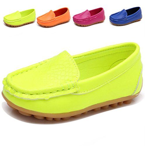 L-RUN Boys Girls Leather Loafer Shoes Dress Boat Shoes Green 10 M US Toddler by L-RUN
