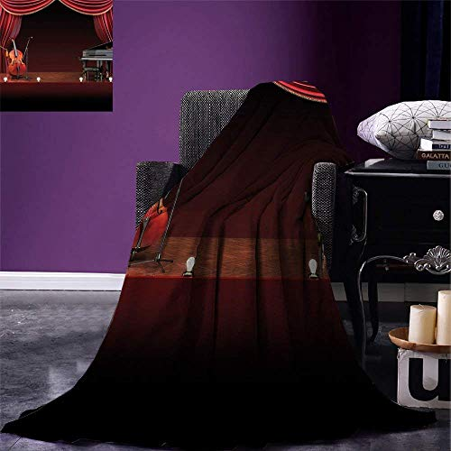 ZOMOY Musical Theatre Home Decor Digital Printing Blanket Orchestra Symphony Theme Stage Curtains Piano Cello Summer Quilt Comforter Burgundy Brown Black, Blanket