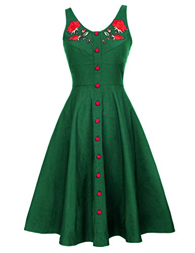 Sleeveless Vintage Embroidery Print Tea Dress for Women M BP377-3