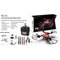 Fineser TK110HW Wifi FPV 720P HD Camera Foldable 2.4G 4CH 6-Axis Selfie Quadcopter Drone With Headless Mode, One-key Return and LED Lamp (Red)