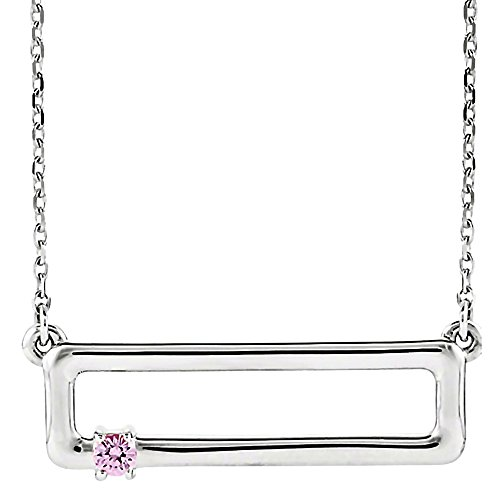 Trustmark 14K White Gold Customized Family 1 Birth Month Rectangular Bar Pendant Necklace