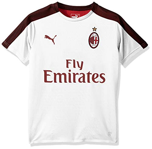PUMA Men's AC Milan Stadium Jersey SS Kids with Sponsor, White Black, L - Ac Milan White Jersey