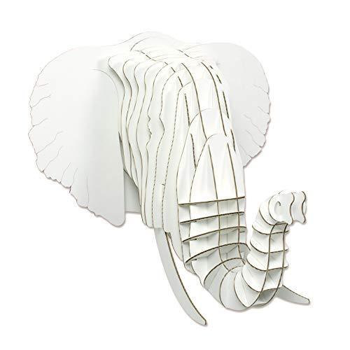 Cardboard Safari Recycled Cardboard Animal Taxidermy Elephant Trophy Head, Eyan (Micro, White) by Cardboard Safari