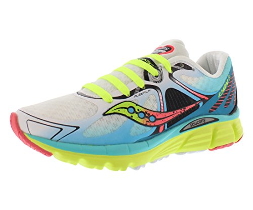 Saucony Women's Kinvara 6 Running Shoe, White/Blue/Coral, 10 M - Saucony White Shoes