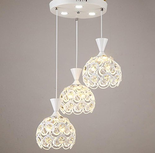 GL&G Modern Iron Light Hollow dining room living room chandeliers Pendent Light for Home decoration lighting,LED Bulb Included, Warm White Light,3 head,1824cm by GAOLIGUO