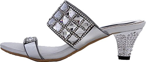 Salabobo Womens Wedding Work Job Leisure Fahion Slip On Rhinestone Leather Sandals MX-T009 Silver 1EJSl