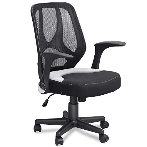 mysuntown Mid-Back Office Mesh Chair,Task Chair with Adjustable Height Flip-Up Armrests, Executive Swivel Chair, Black