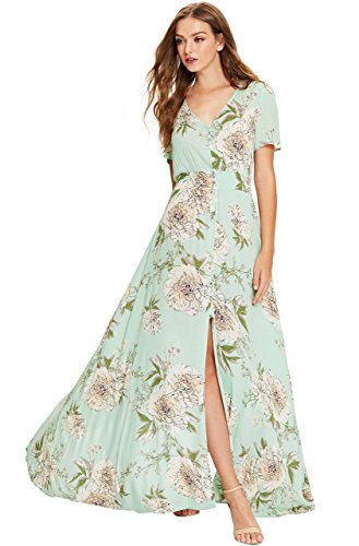 Floral Print Green (Milumia Women's Button up Split Floral Print Flowy Party Maxi Dress Large Multicolor-Floral-Green)