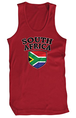 Amdesco - Playera de Tirantes para Hombre, diseño de Bandera de Sudáfrica, Rojo Cardenal, Large