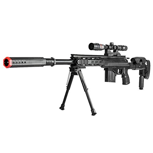 Gun Sniper Set - 300 FPS Airsoft Sniper Rifle Tactical Gun Setup Full Size w 6mm BBs BB