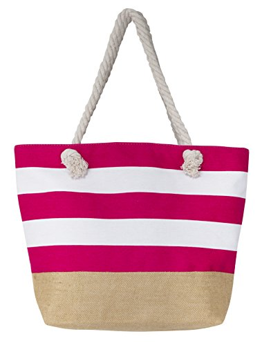 Leisureland Canvas Tote Beach Bag, Water Resistant Shoulder Tote Bag (L20 xH15 xW6, Stripe Fuchsia)