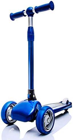NLIAN- スクーター3輪、3〜8歳の子供向けキックスクーター、PU点滅ホイールを備えたリーンステア高さ調節可能な3つの安定性防止構造 (Color : Blue)