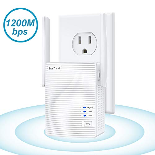 BrosTrend 1200Mbps WiFi Range Extender Signal Booster Repeater, Add Coverage up to 1200 s.q.f.t. in Your House, Extend 2.4GHz & 5GHz WiFi, Easy Setup