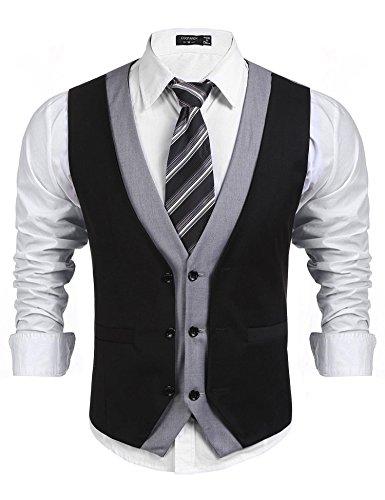 COOFANDY Men's Layered Suit Vest Slim Fit V Neck Formal Vest Business -