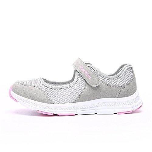 zapatos tamaño Ligero de Plus Mujer zapatillas hy cierre gris de ys senderismo de velcro verano transpirable 0tpTwxqg