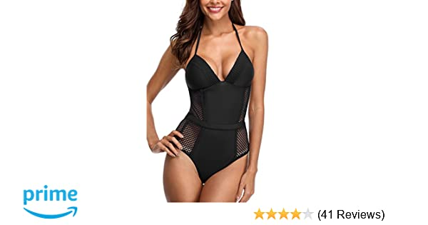 0ad0fd83f7 Sociala Women s Halter V Neck One Piece Swimsuits Mesh Bathing Suits at  Amazon Women s Clothing store