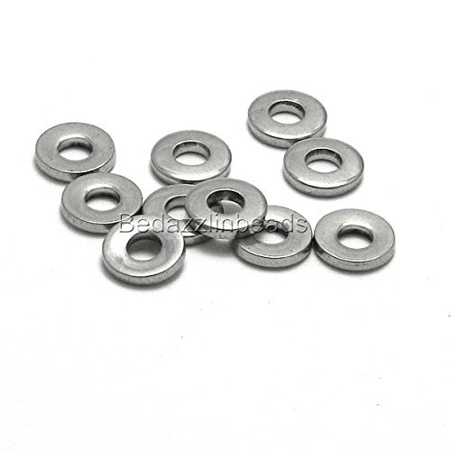 - 20 Surgical Stainless Steel Silver 8mm Flat Round Rondelle Heishi Disc Beads