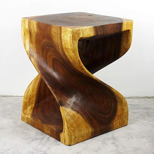 Haussmann Twist Wood End Table 15 x 15 x 20 inch High Livos Oak Oil Finish (Stand Plant Finish Oak)