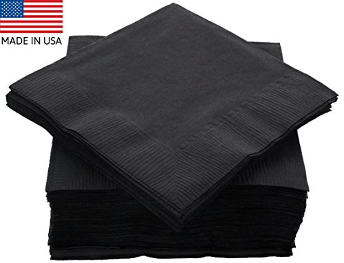 "Amcrate Big Party Pack 125 Count Black Beverage Napkins - Ideal for Wedding, Party, Birthday, Dinner, Lunch, Cocktails. (5"" x - Orgys Black"