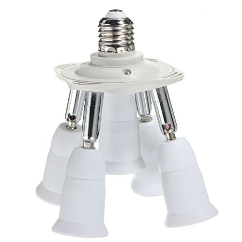 5 in 1 Light Socket Adapter KINGSO E26/E27 Splitter for Standard LED Bulbs Converter with 360 Degrees Adjustable 180 Degree Bending 110-240V 200℃ Heat Resistant No Fire Hazard