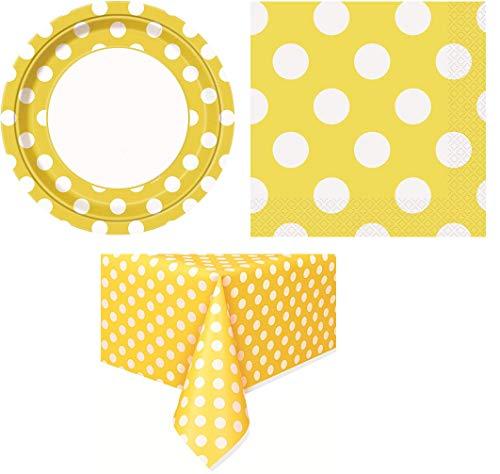 - UNIQUE - Yellow Polka Dot - Plastic Tablecloth, 108