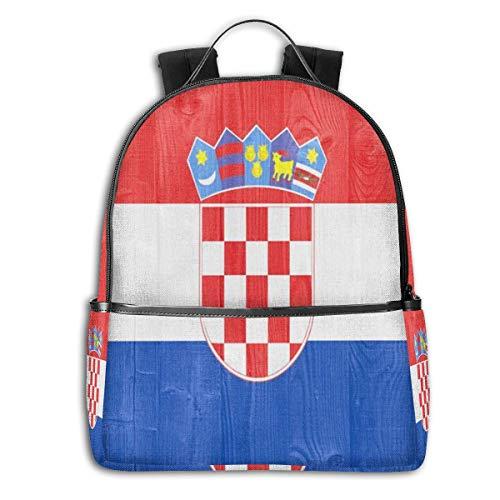 School Shoulder Book Bags, Large Capacity Rucksacks for Sports Outdoors Walking Cycling, Croatia Flag Camping Outdoor Backpack for Men Women Kids