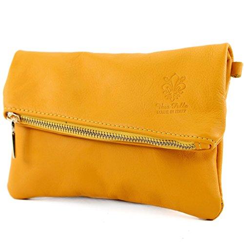 modamoda de - ital. Ledertasche kleine Damentasche Handgelenktasche Nappaleder T95 Gelb