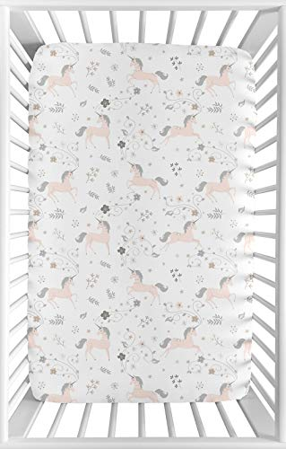 Sweet Jojo Designs Pink, Grey and Gold Baby Girl Fitted Mini Portable Crib Sheet for Unicorn Collection - for Mini Crib or Pack and Play ONLY