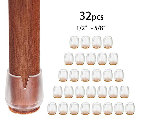 JLK 32 Pack Round Chair Leg Feet Wood Floor Protectors, Chair Feet Glides Furniture Carpet Saver, Silicone Caps Tips with Felt Pads Covers, Fit 1/2