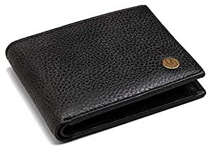 WildHorn® RFID Protected Genuine High Quality Leather Wallet for Men (Black MATT)