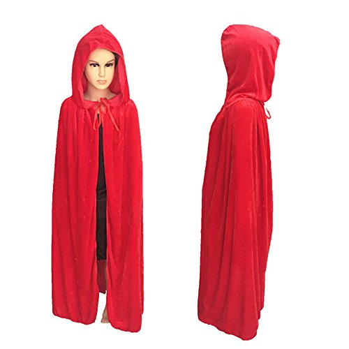 Plus Size Hooded Monk Robe Costumes (Eliffete Red Halloween Robe Christmas Costume Vampire Cloak for Kid Cosplay Cape)