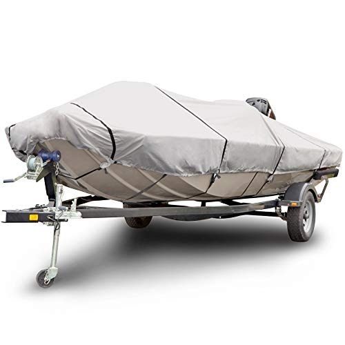 (Budge 1200 Denier Boat Cover fits Center Console Flat Front/Skiff / Deck Boats B-1241-X5 (18' to 20' Long, Gray))