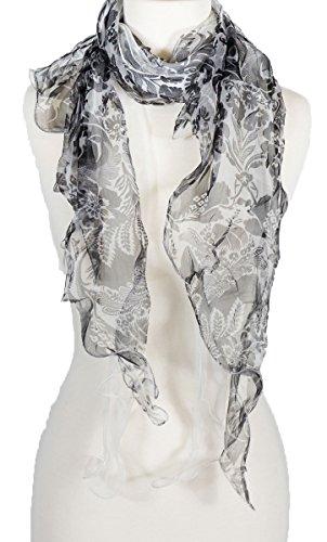 - Double Layer 100% Silk, Floral Ruffle Silk Scarf, Summer scarf (Black/White)