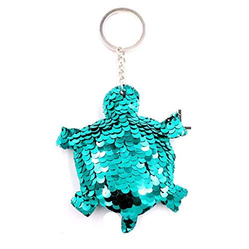 WEILYDF Sequin Keychain Stylish Classic Animal Design Keyring Cute Bear Elephant Dolphin Turtle Reflective Bag Pendant -